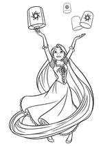 Раскраска - Принцессы Диснея - Рапунцель и фонари
