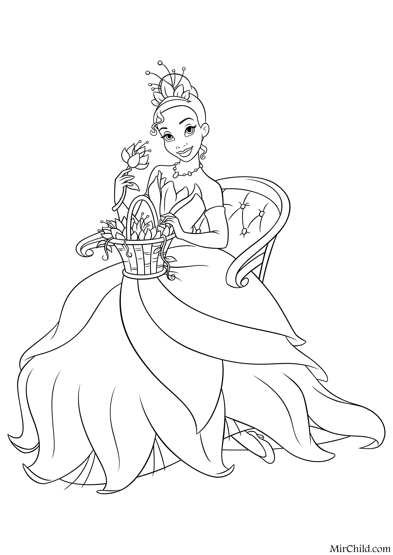 Раскраска - Принцессы Диснея - Тиана с корзиной цветов ...