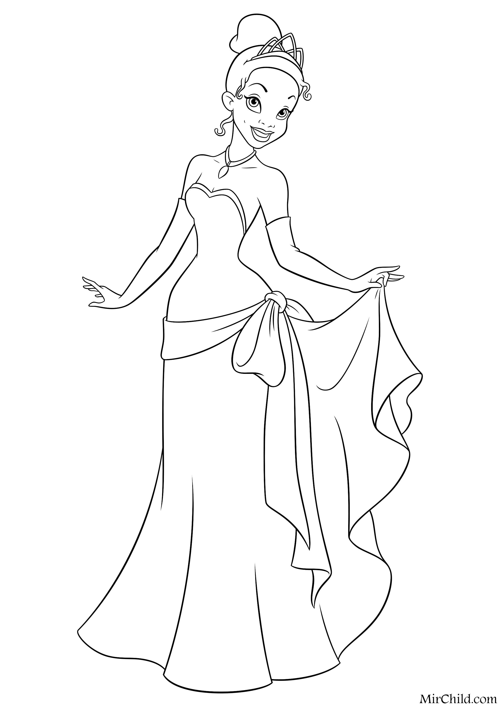 Раскраска - Принцессы Диснея - Тиана в вечернем платье ...