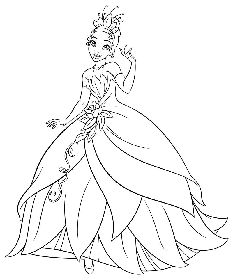 Раскраска - Принцессы Диснея - Тиана в элегантном платье ...