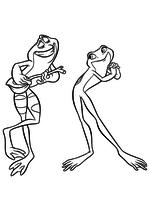 Раскраска - Принцессы Диснея - Навин поёт серенаду Тиане