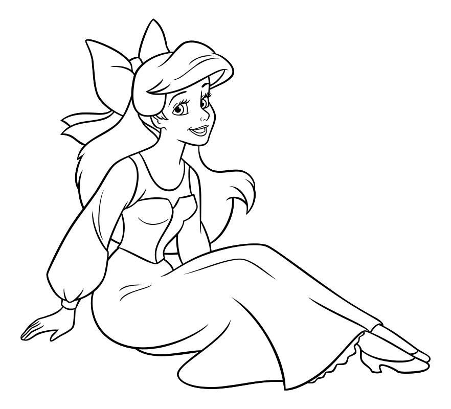 Раскраска - Принцессы Диснея - Ариэль девушка | MirChild
