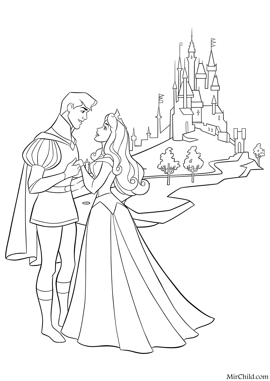 Раскраска - Принцессы Диснея - Аврора и Принц Филипп ...