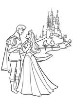 Раскраска - Принцессы Диснея - Аврора и Принц Филипп