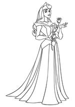 Раскраска - Принцессы Диснея - Аврора с розой в руке