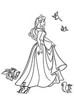 Раскраска - Принцессы Диснея - Аврора и зверята