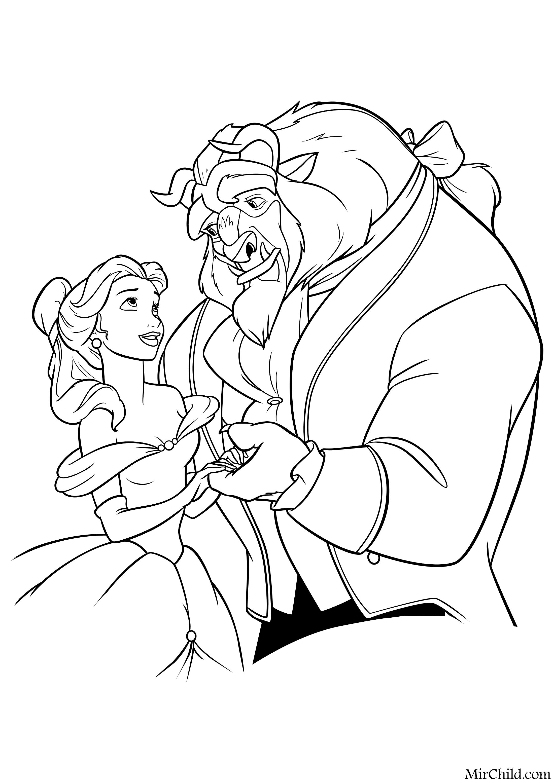 Раскраска - Принцессы Диснея - Белль и Принц-чудовище ...