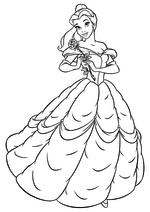 Раскраска - Принцессы Диснея - Белль с розой