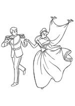 Раскраска - Принцессы Диснея - Золушка с принцем