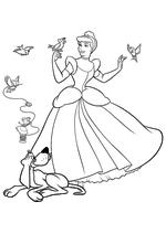 Раскраска - Принцессы Диснея - Золушка, пёс Бруно и птицы