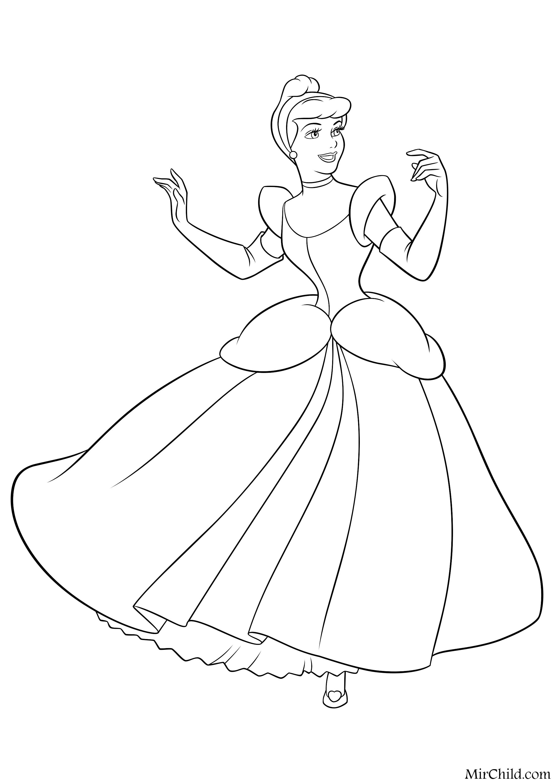 Раскраска - Принцессы Диснея - Золушка в бальном платье ...