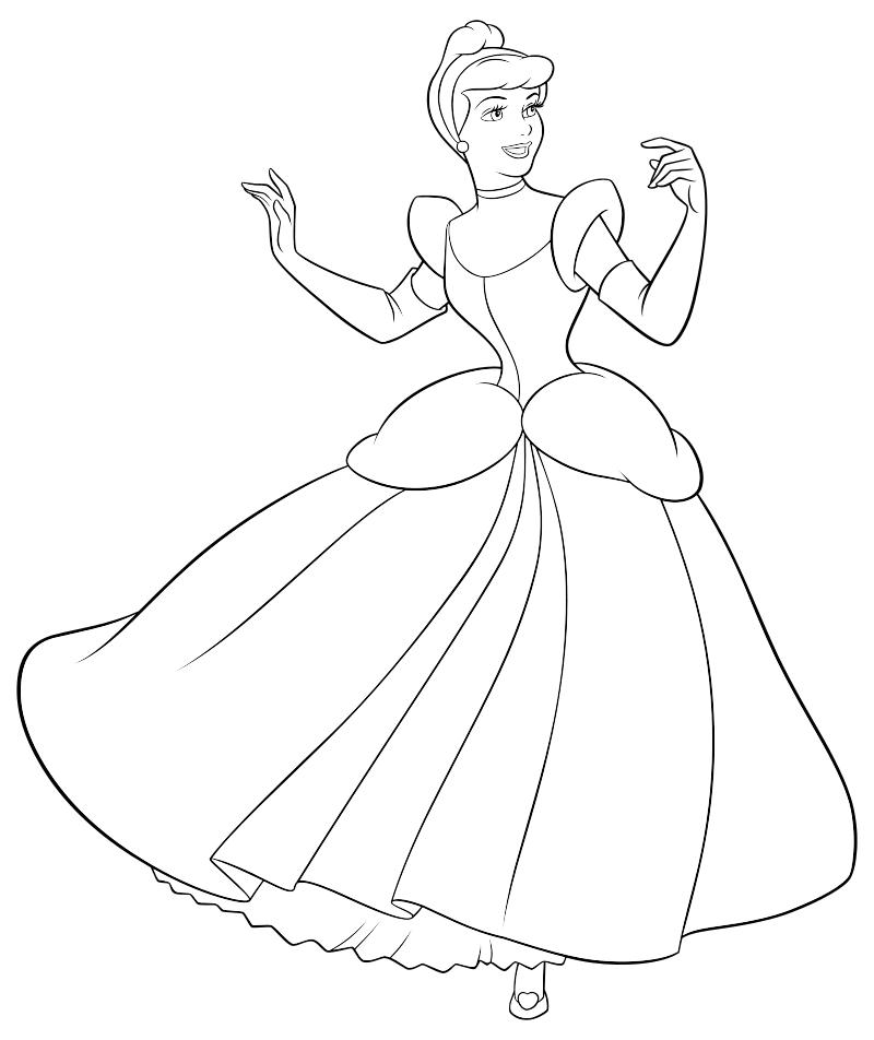 раскраска принцессы диснея золушка в бальном платье