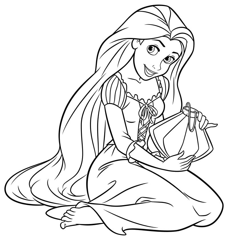 Раскраска - Принцессы Диснея - Рапунцель и фонарик | MirChild