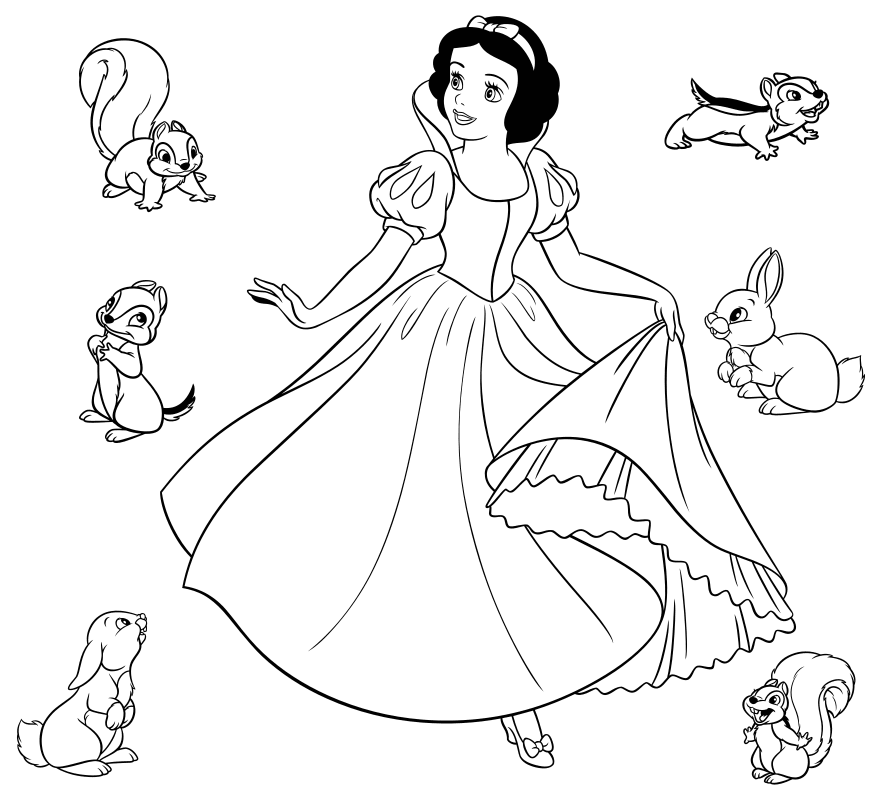 Раскраска - Принцессы Диснея - Белоснежка и зверята | MirChild