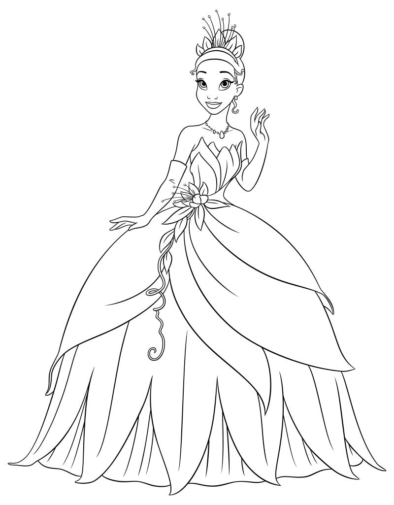 Раскраска - Принцессы Диснея - Тиана в бальном платье ...