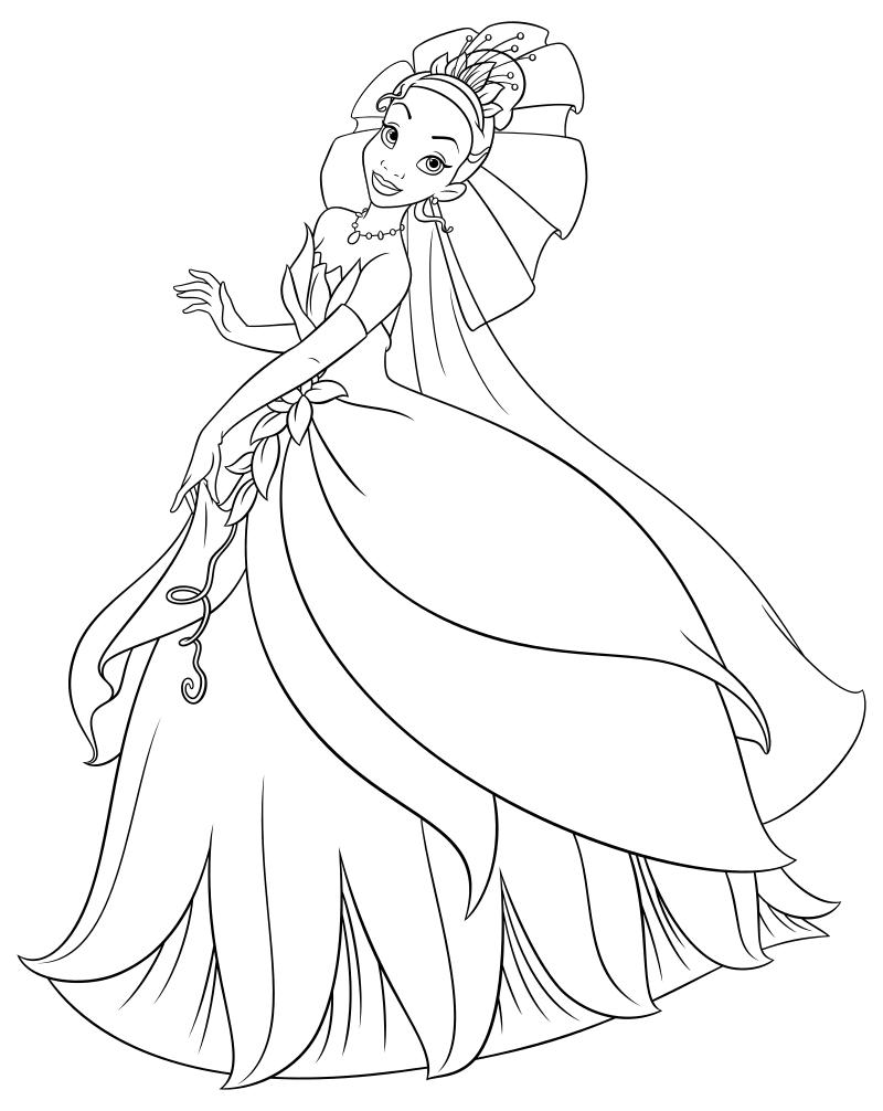 Раскраска - Принцессы Диснея - Тиана в свадебном платье ...
