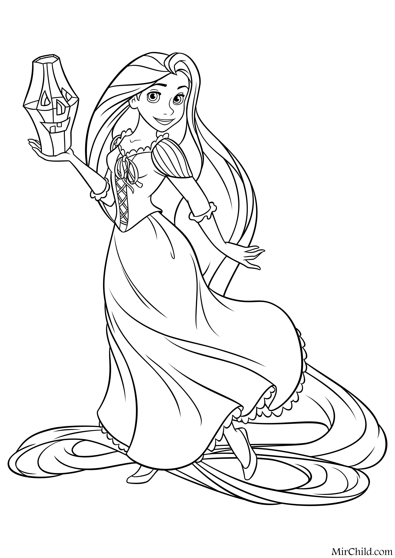 Раскраска - Принцессы Диснея - Рапунцель и фонарик на ...