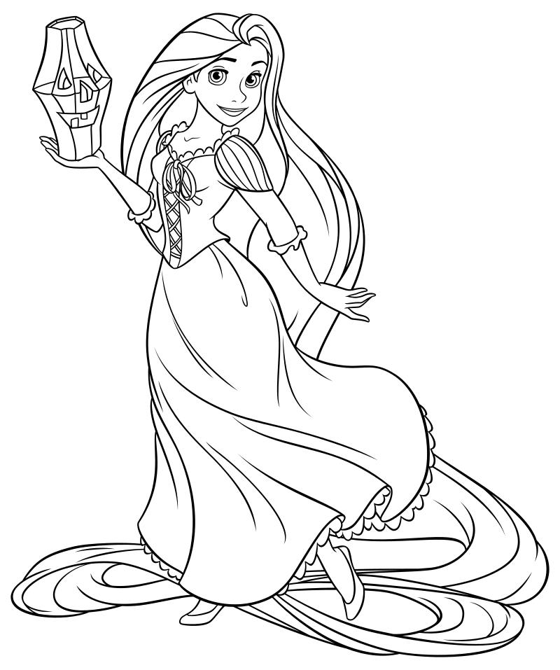 Раскраска - Принцессы Диснея - Рапунцель и фонарик на Хэллоуин