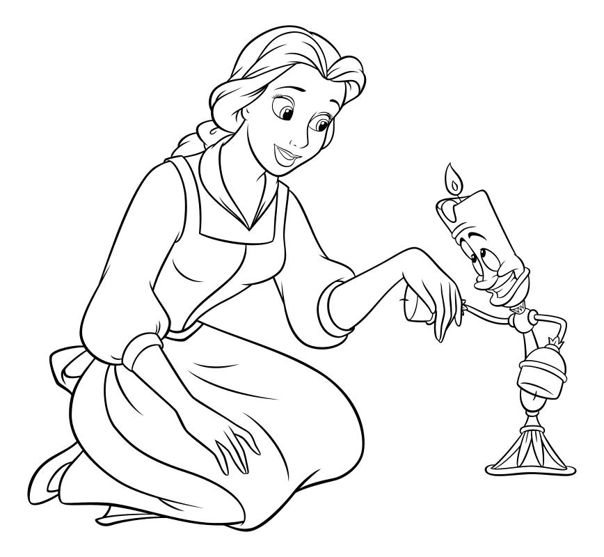 Раскраска - Принцессы Диснея - Белль встречает Люмьера ...