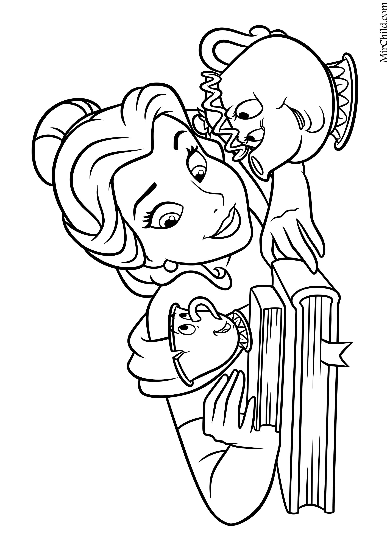 Раскраска - Принцессы Диснея - Белль в компании Чипа и ...