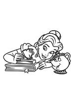 Раскраска - Принцессы Диснея - Белль в компании Чипа и Мадам Поттс