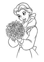 Раскраска - Принцессы Диснея - Белль с букетом роз