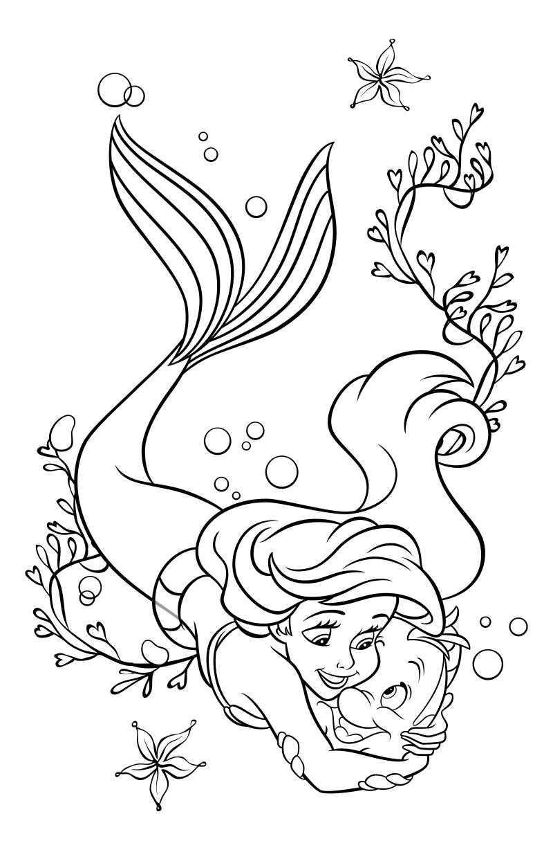 Раскраска - Принцессы Диснея - Русалочка обнимает рыбку ...