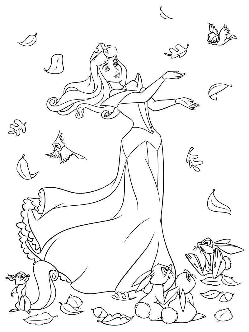 Раскраска - Принцессы Диснея - Осень принцессы Авроры ...