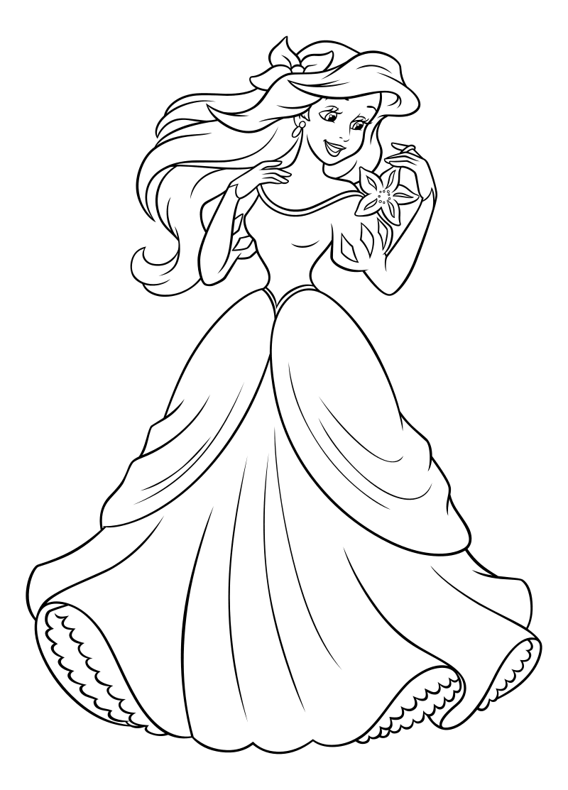 раскраска принцессы диснея ариэль девушка в бальном
