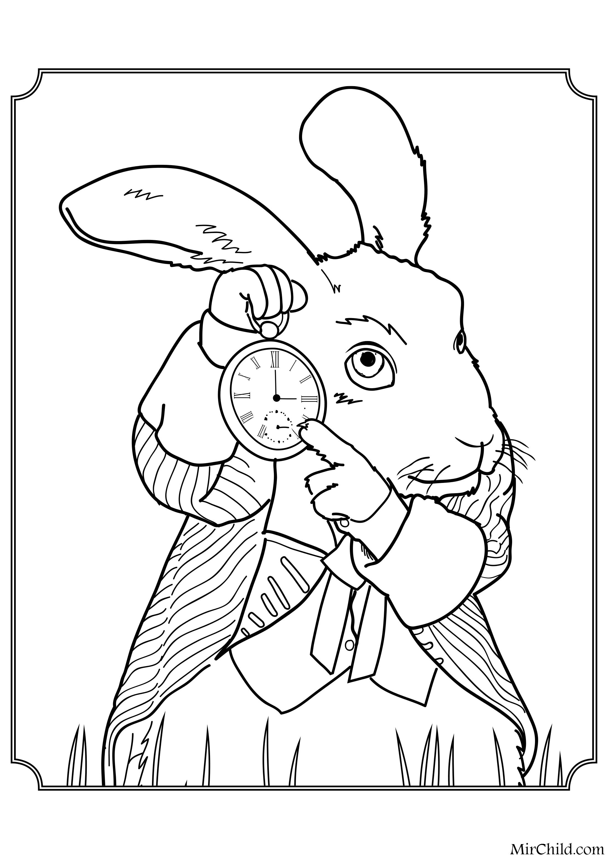 Раскраска - Алиса в Зазеркалье - Белый Кролик