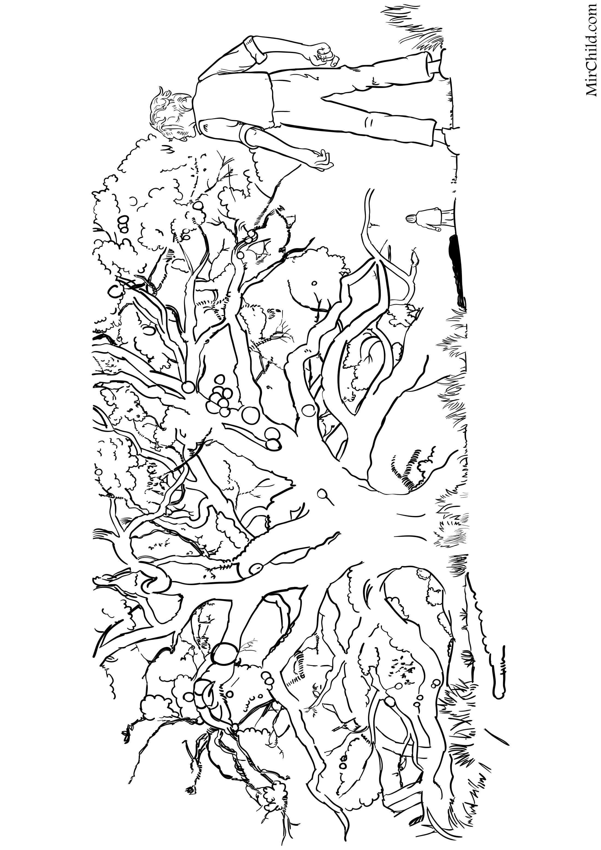 Раскраска - Большой и добрый великан - Дерево снов | MirChild