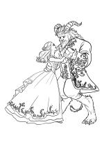 Раскраска - Красавица и чудовище - Белль и Чудовище