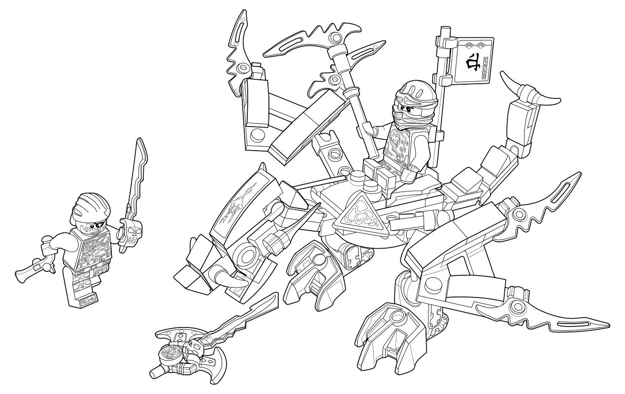 раскраска Lego ниндзяго мастера кружитцу дракон коула