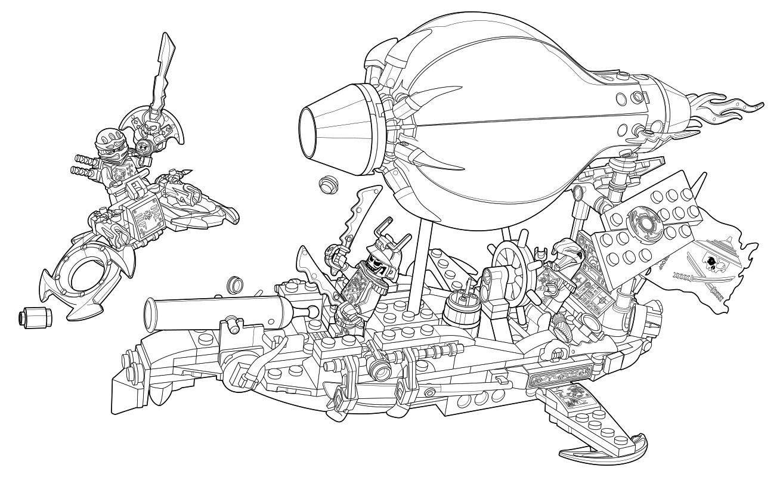 Раскраска - LEGO Ниндзяго. Мастера Кружитцу - Дирижабль ...