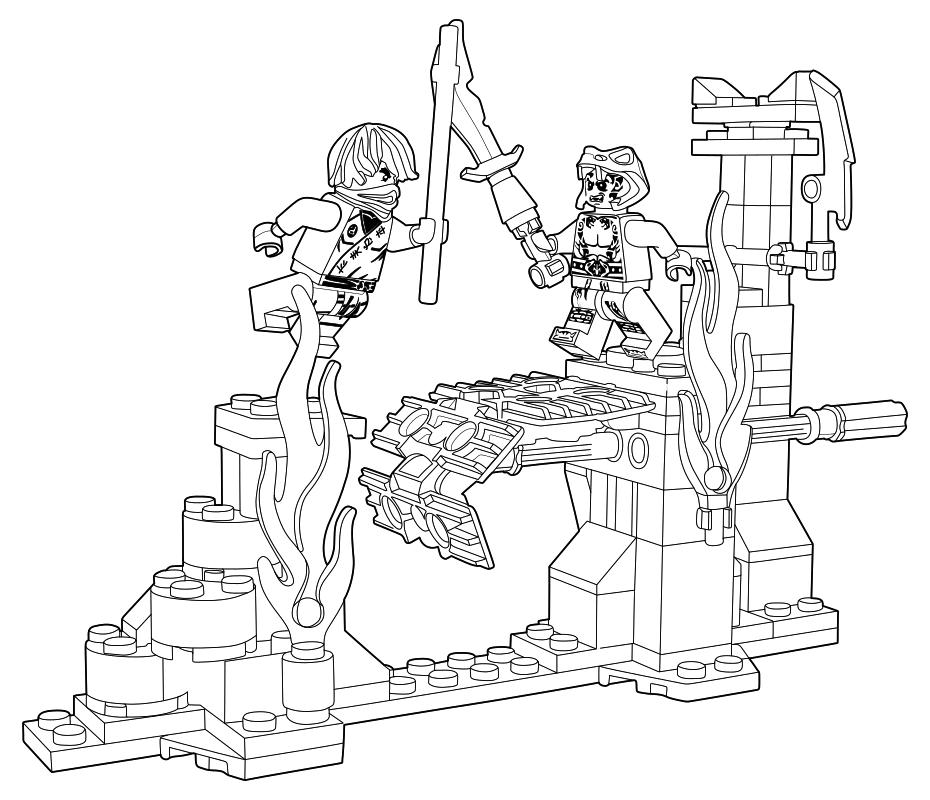 раскраска Lego ниндзяго мастера кружитцу сражение над
