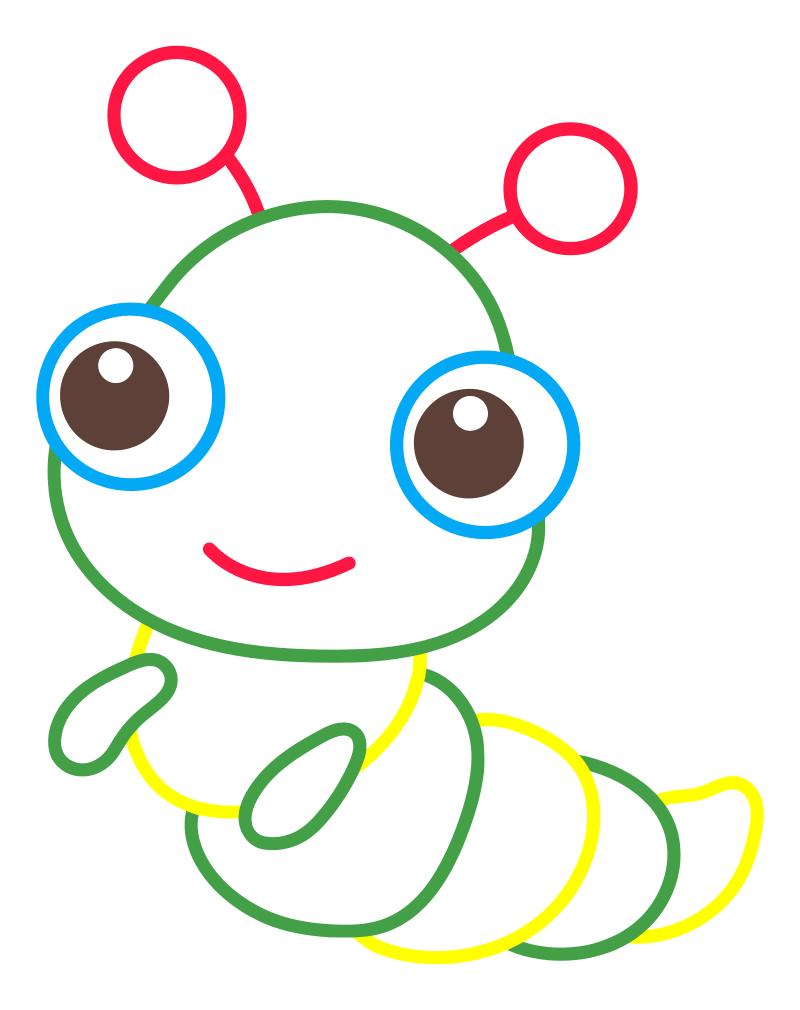 Раскраска - Малышам - Гусеница | MirChild