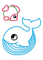 Раскраска - Малышам - Кит и рыбка