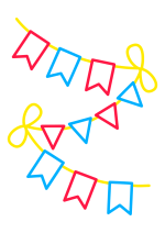 Раскраска - Малышам - Флажки на верёвочке