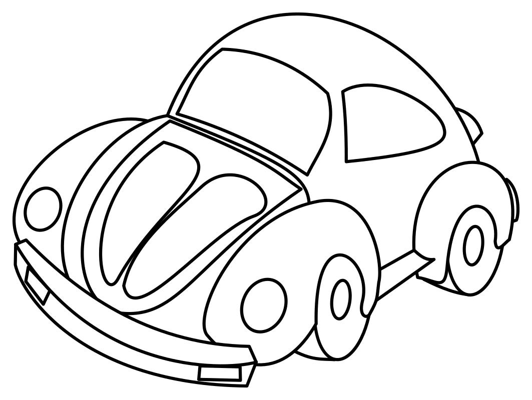 раскраска малышам автомобиль фольксваген жук Mirchild