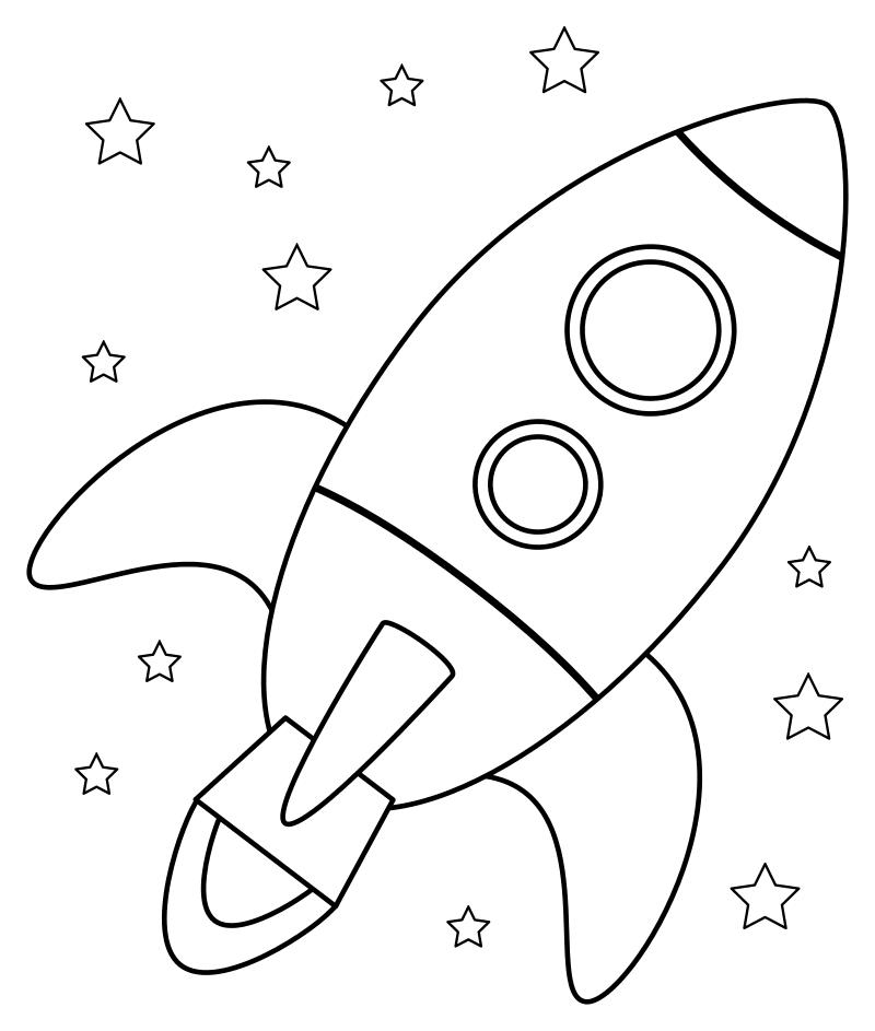 Раскраска - Малышам - Ракета среди звёзд | MirChild