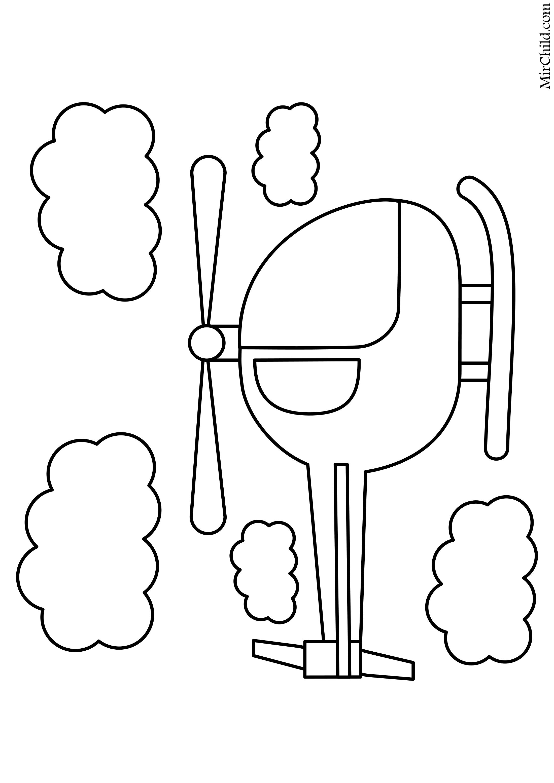 Раскраска - Малышам - Вертолет среди облаков   MirChild