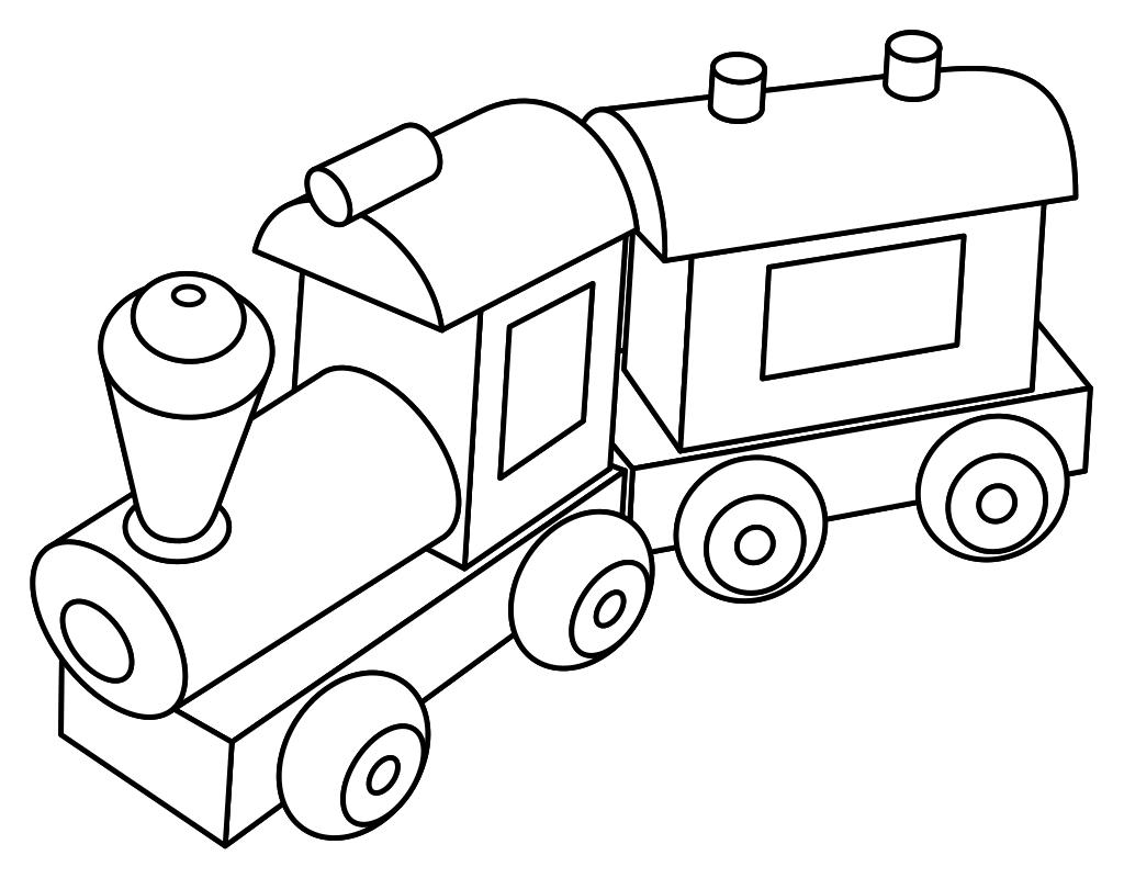 Раскраска - Малышам - Игрушка паровозик с вагоном | MirChild