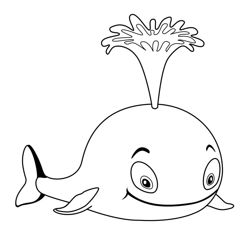 Картинка кит раскраска для детей