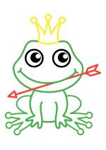 Раскраска - Малышам - Лягушка-царевна со стрелой
