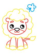 Раскраска - Малышам - Львёнок с бабочкой