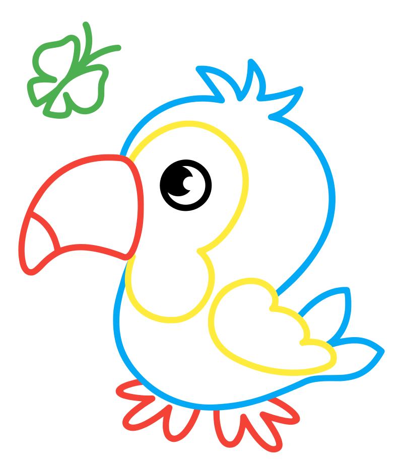 Раскраска - Малышам - Попугайчик с бабочкой | MirChild
