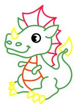 Раскраска - Малышам - Маленький дракончик
