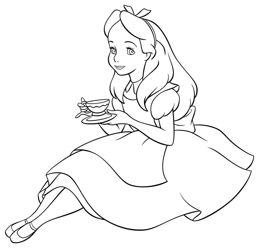 Алиса в стране чудес картинки раскраски
