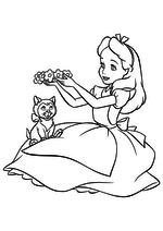 Раскраска - Алиса в Стране чудес - Алиса и кошка Дина