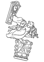 Раскраска - Алиса в Стране чудес - Алиса падает в кроличью нору